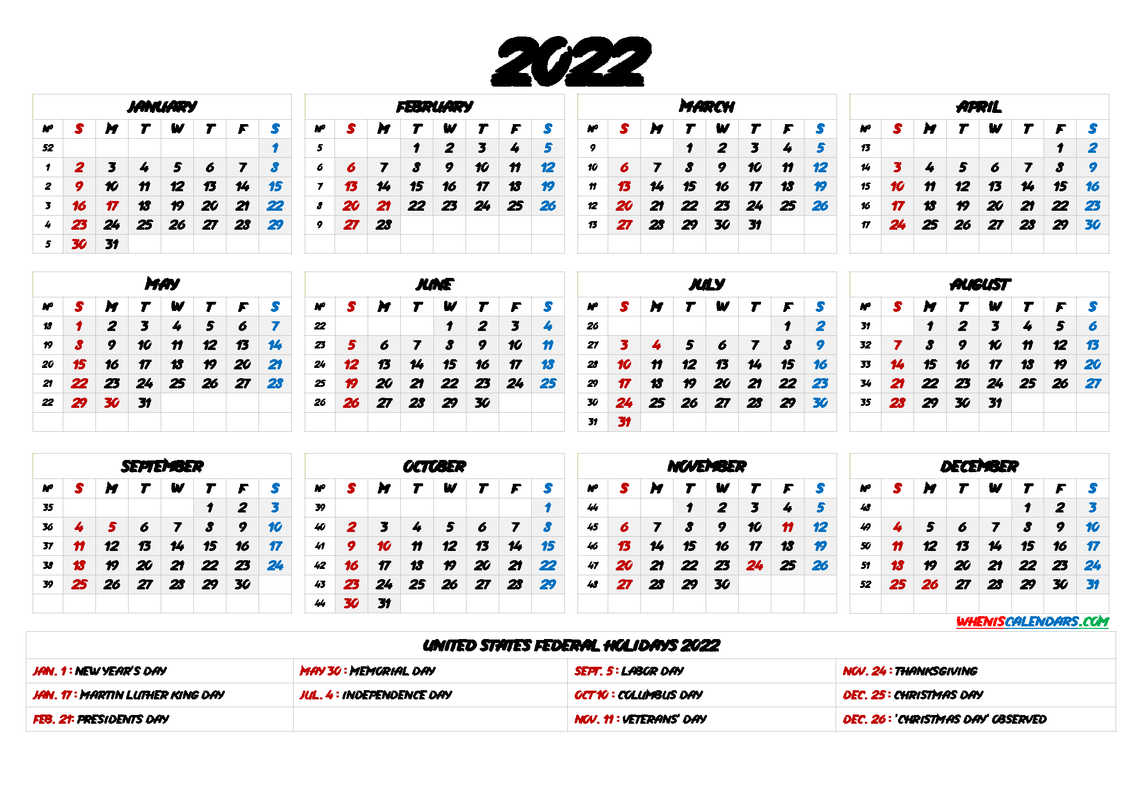 Printable 2022 Calendar with Holidays - 6 Templates