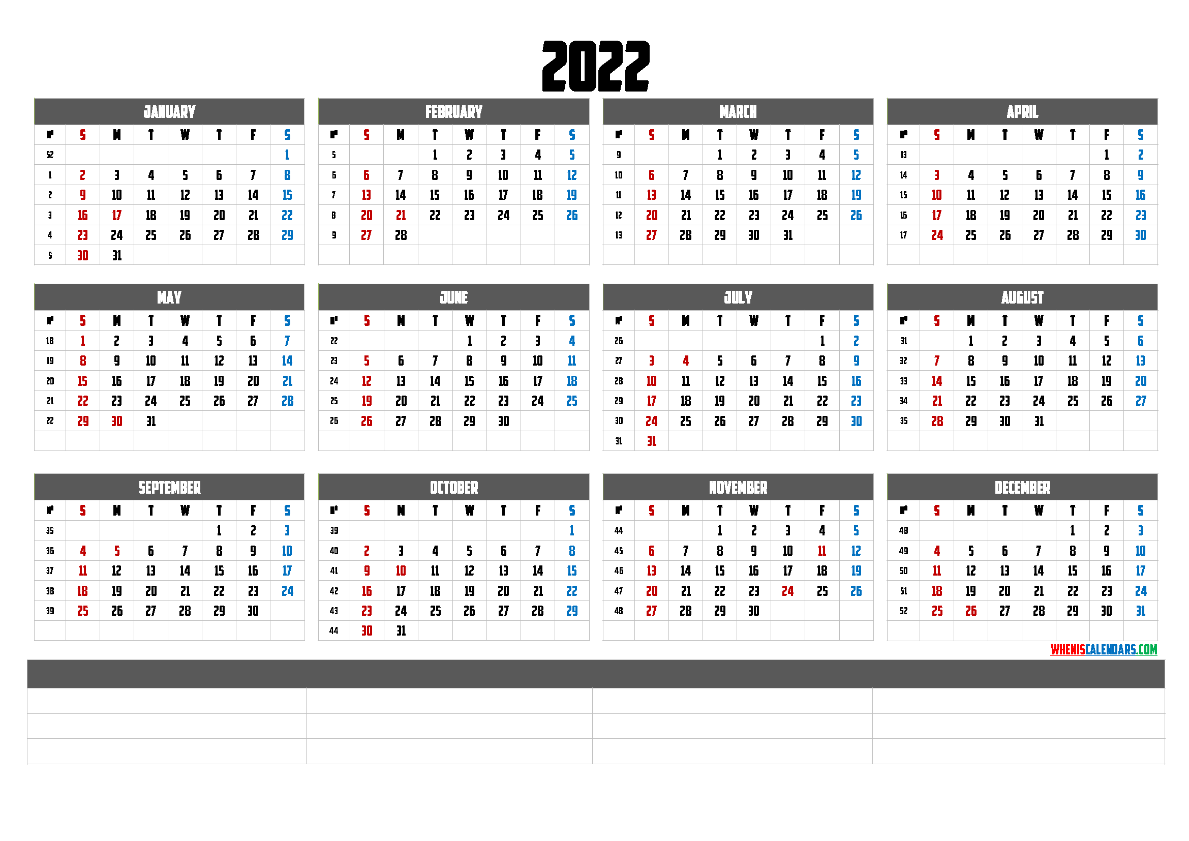 2022 Free Printable Yearly Calendar (6 Templates) - Free ...