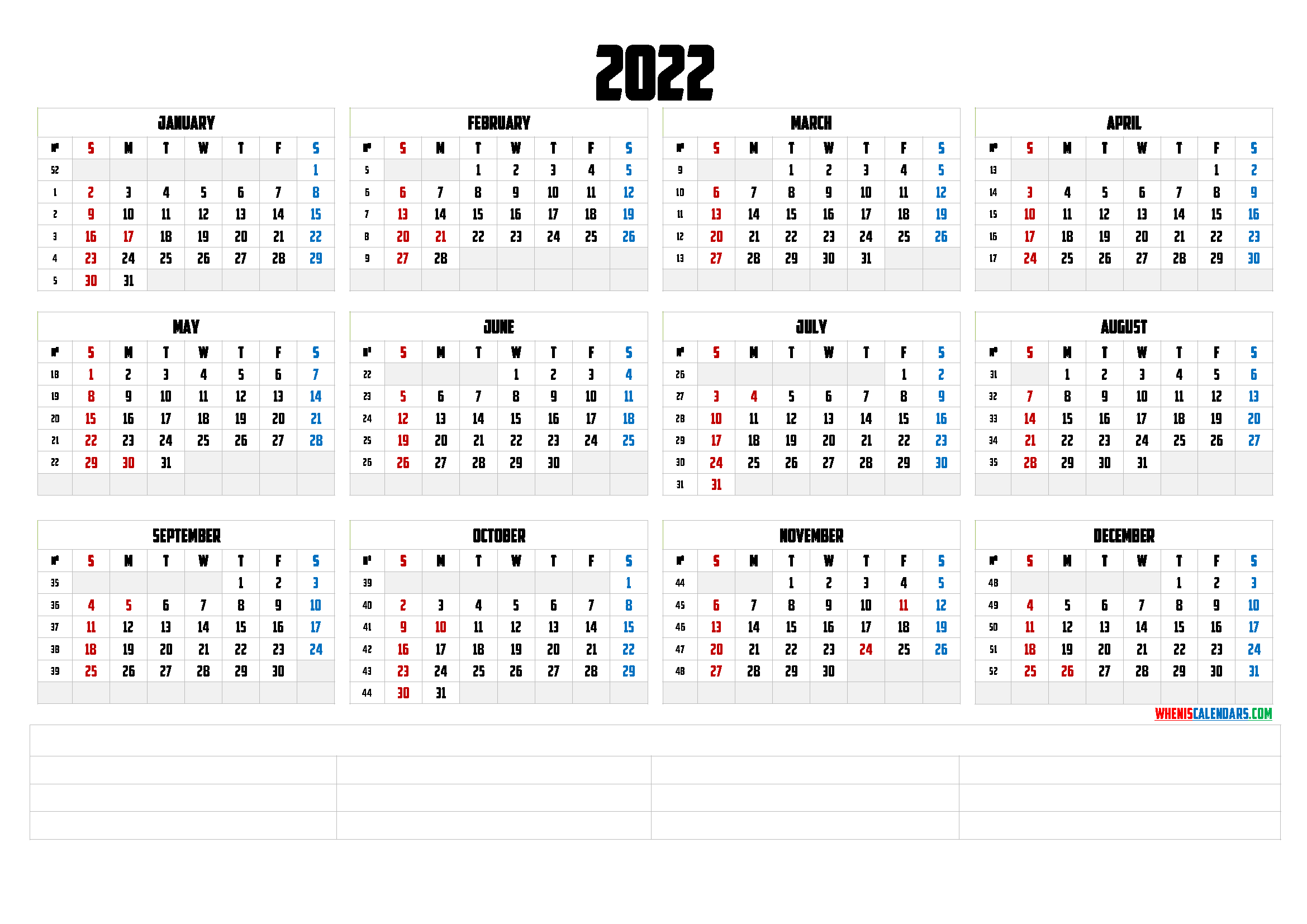 Press the print button and only the calendar will be printed. Printable 2022 Yearly Calendar (6 Templates) - Free ...