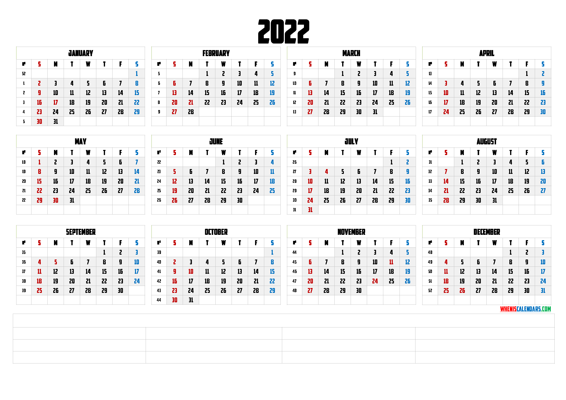 You can budget both your money and your time by making a. Printable 2022 Yearly Calendar with Week Numbers (6 Templates)