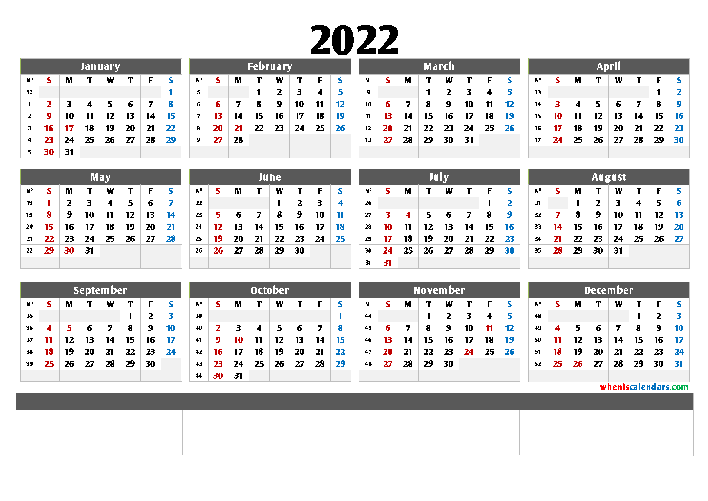 Cute Printable Calendar 2022 (6 Templates)
