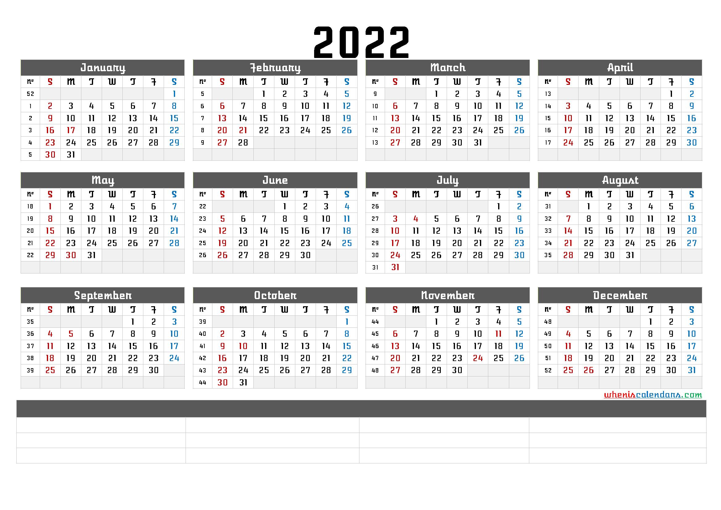 2022 Free Printable Yearly Calendar with Week Numbers (6 ...