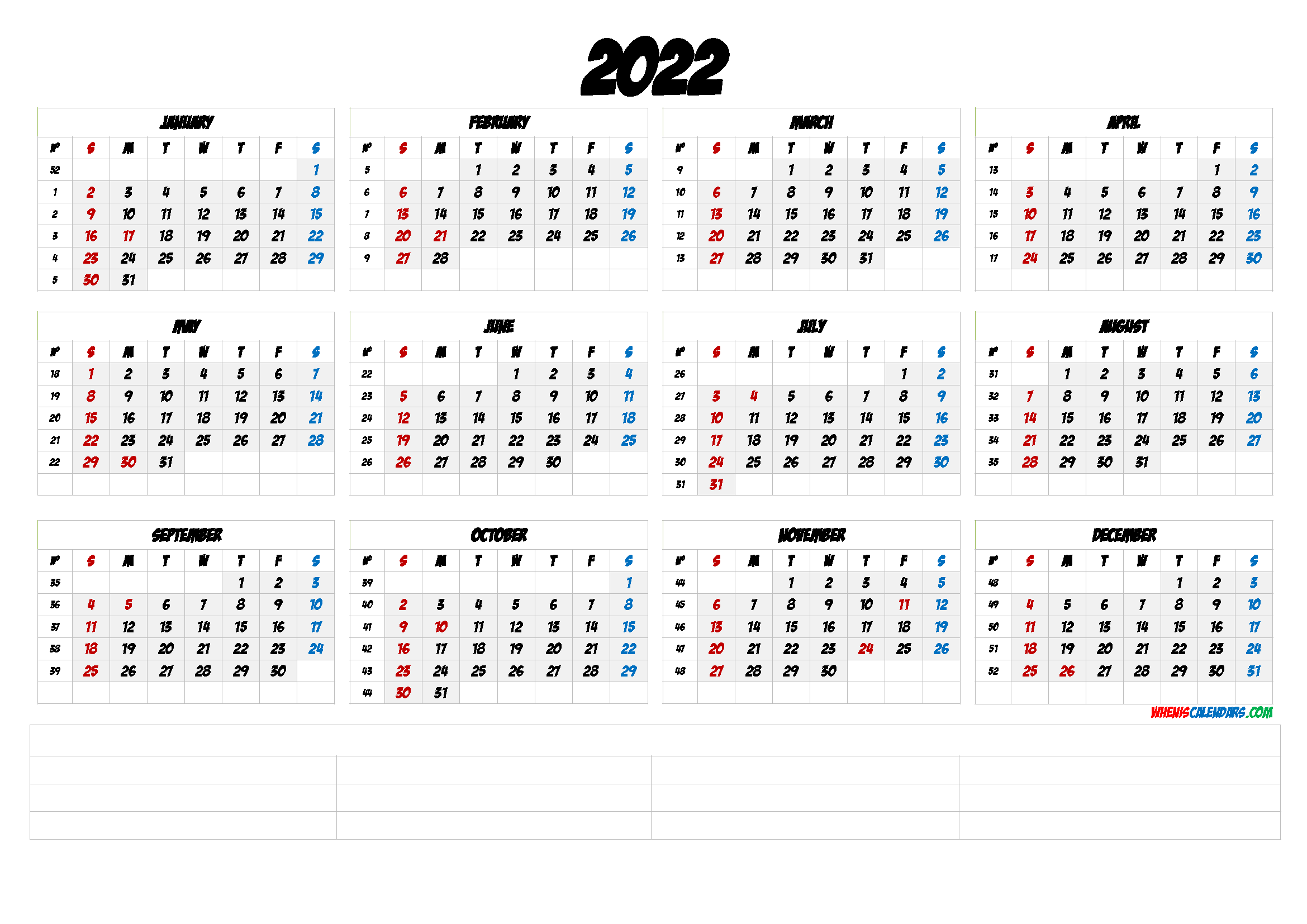 2022 Free Printable Yearly Calendar with Week Numbers (6 ...