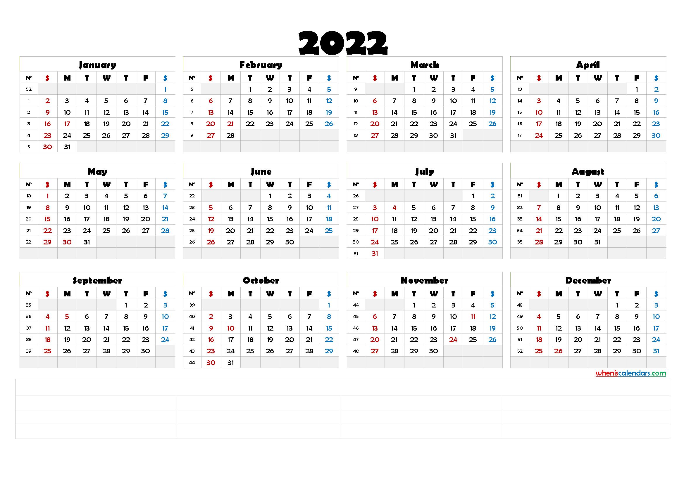 Printable Calendar Templates 2022 (6 Templates)