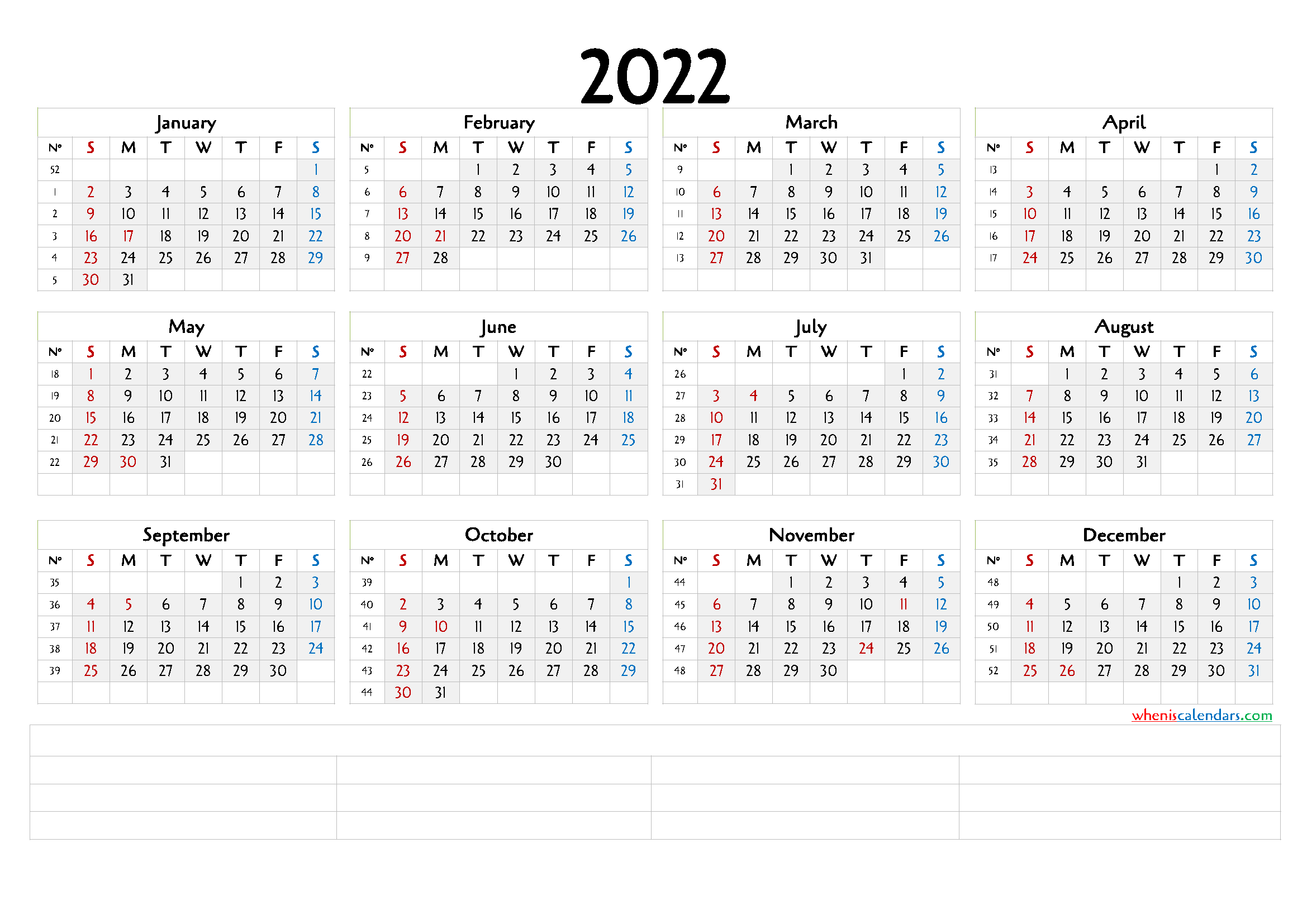 12 Month Calendar Printable 2022 (6 Templates)