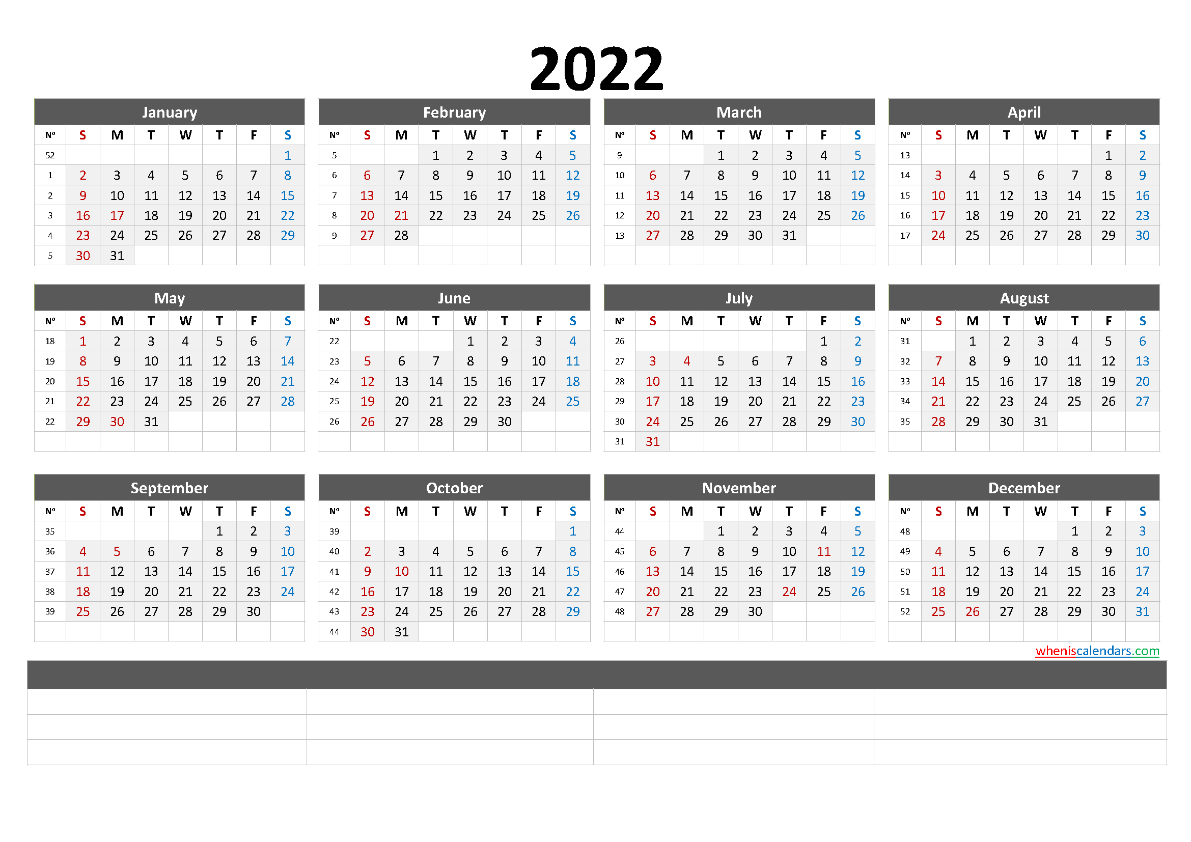 12 Month Calendar Printable 2022 (6 Templates)