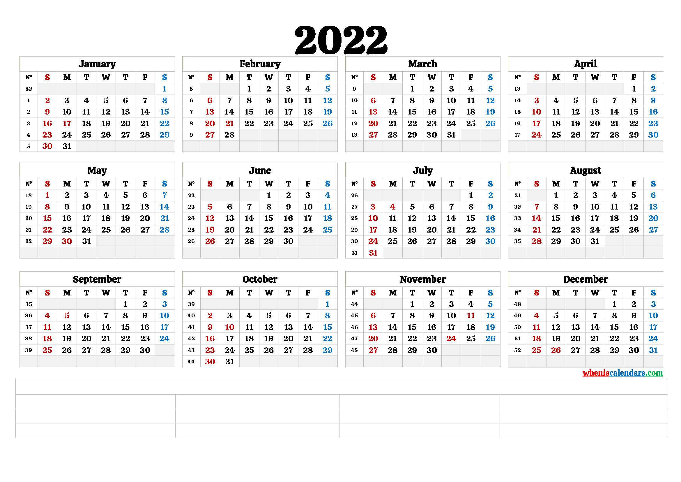 Life is getting very fast every day, there are a lot of tasks to undertake from the beginning of the month to end month. Free Printable 2022 Yearly Calendar (6 Templates) - Free ...