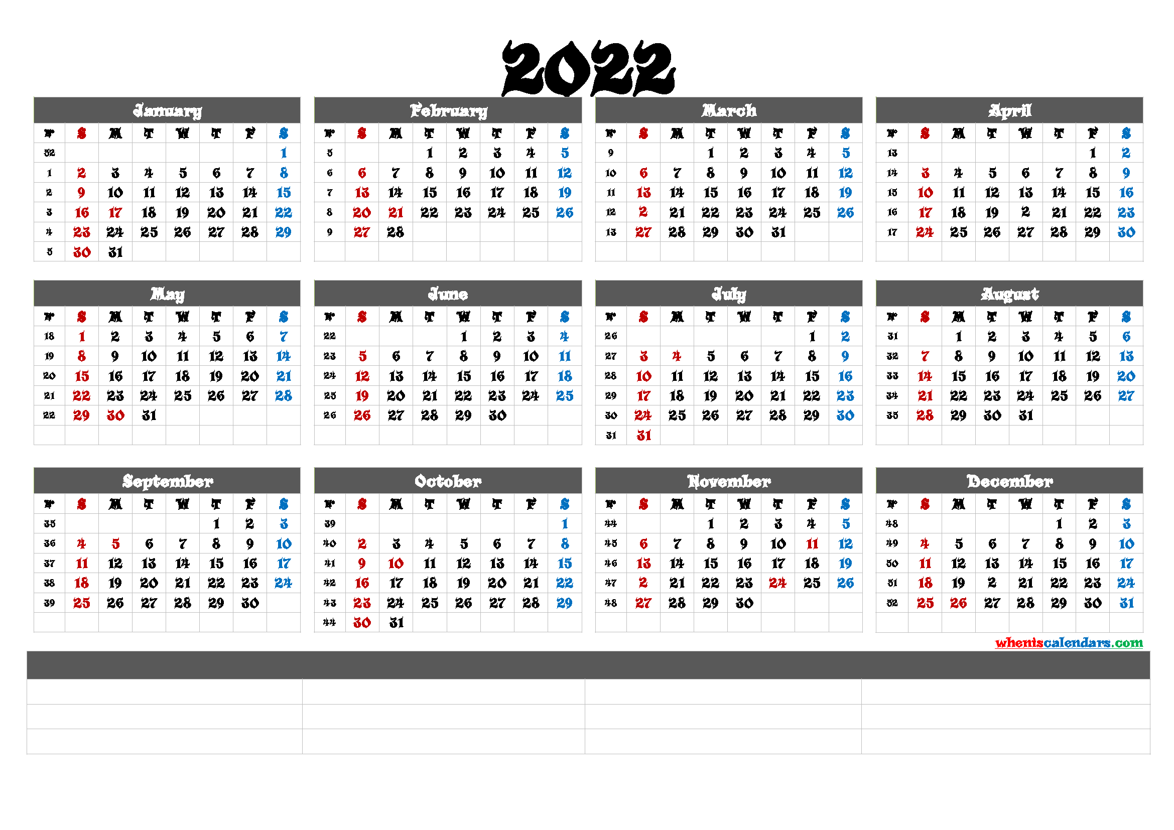Printable 2022 Yearly Calendar (6 Templates)