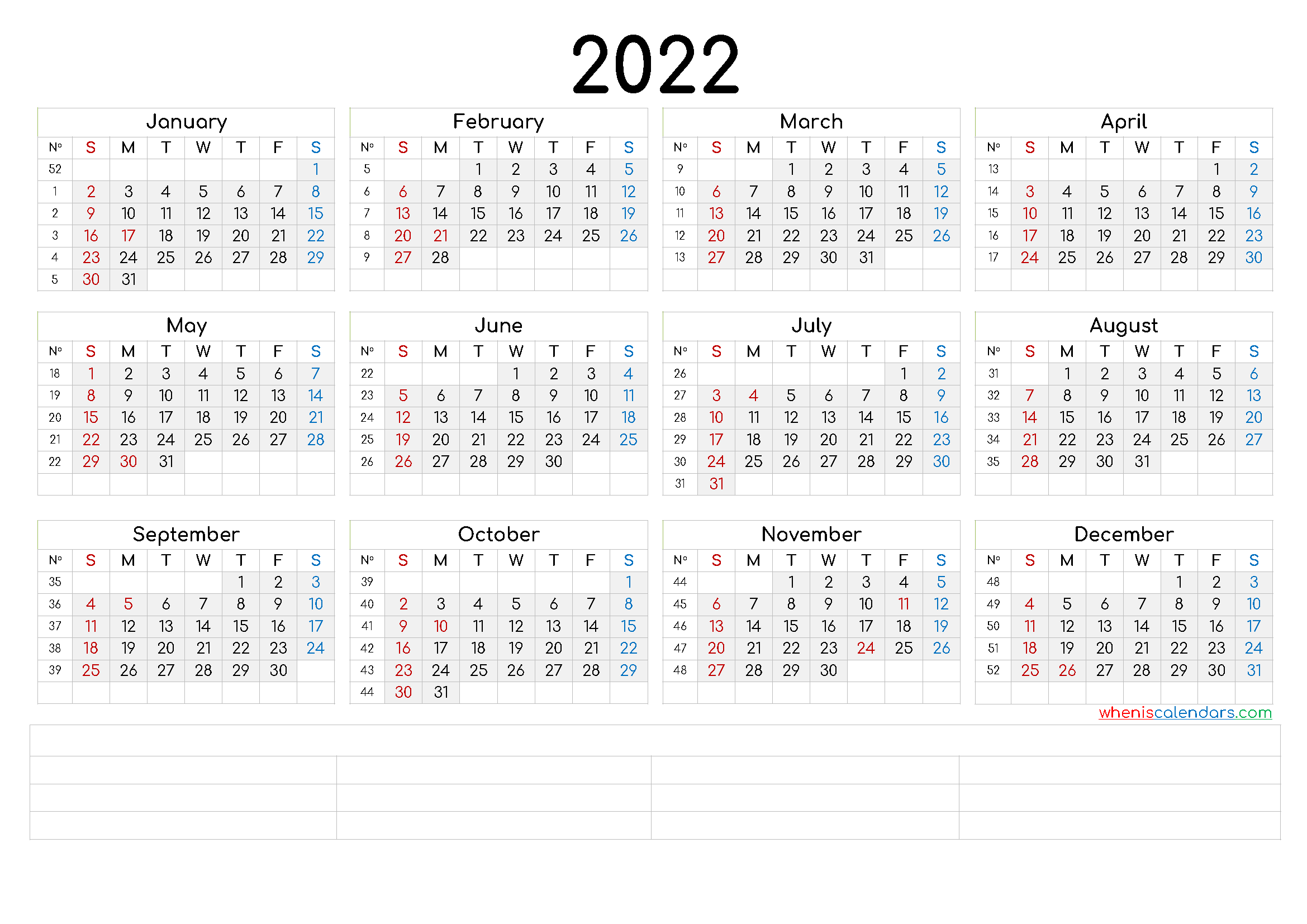 2022 Annual Calendar Printable (6 Templates) - Free ...