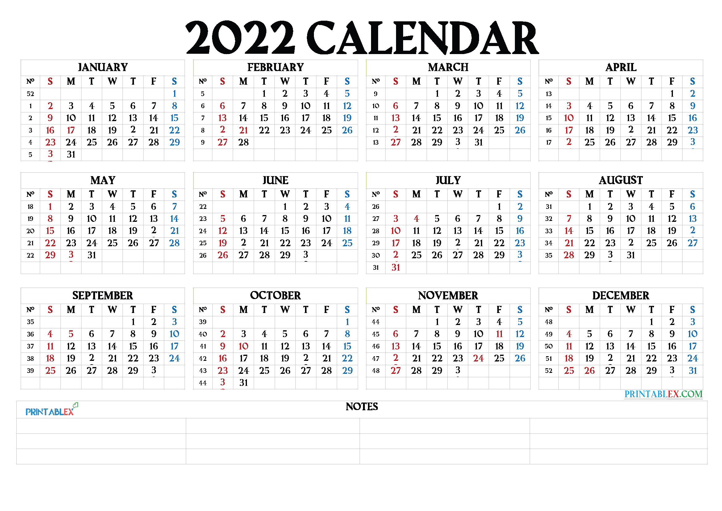 Free Printable 2022 Calendar by Month - 22ytw64