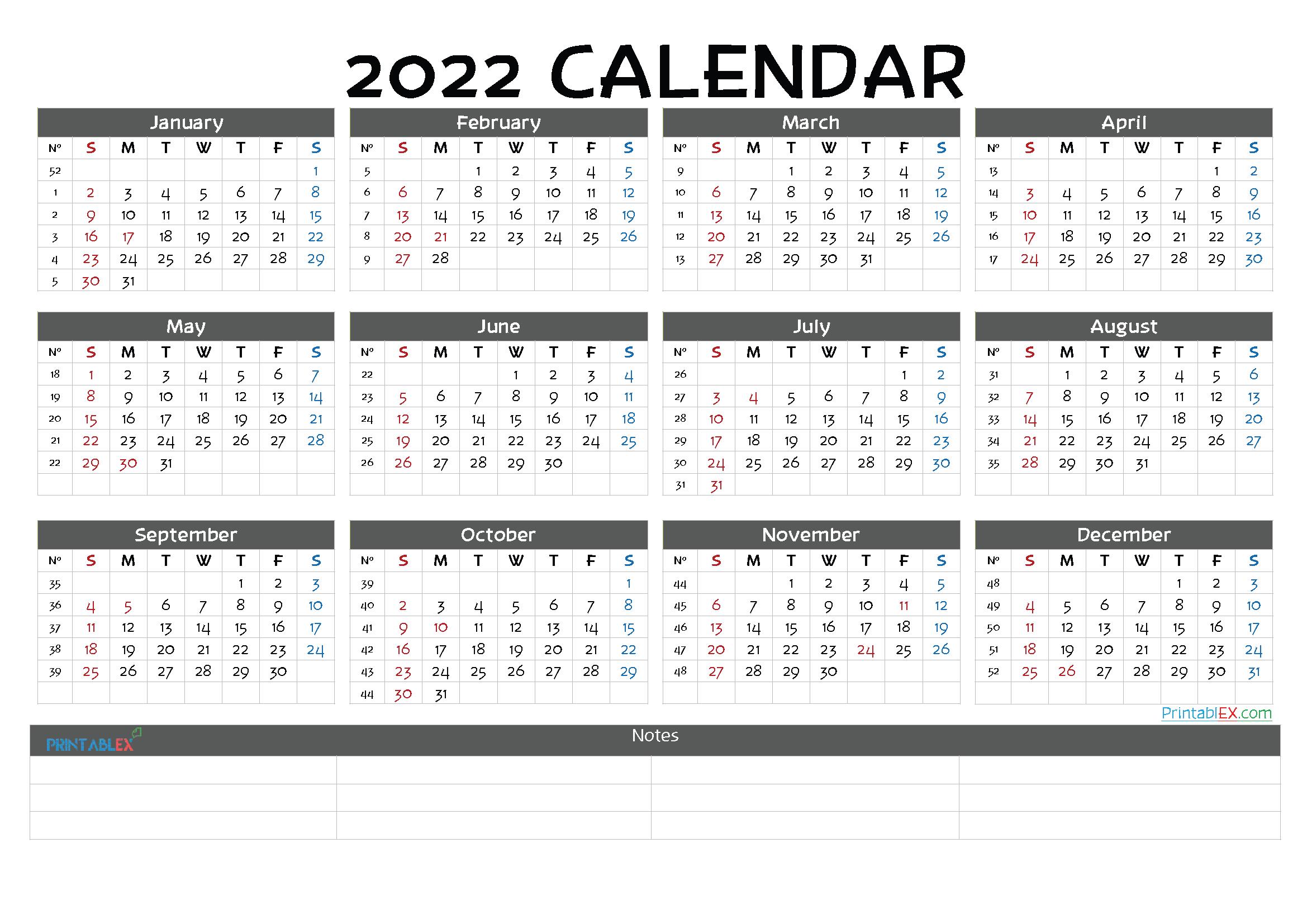 Printable 2022 Yearly Calendar - 22ytw139