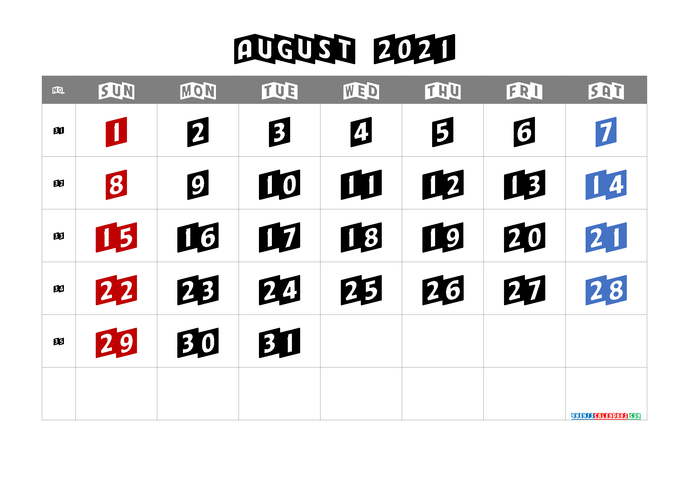 Free Printable Calendar August 2021 2022 and 2023