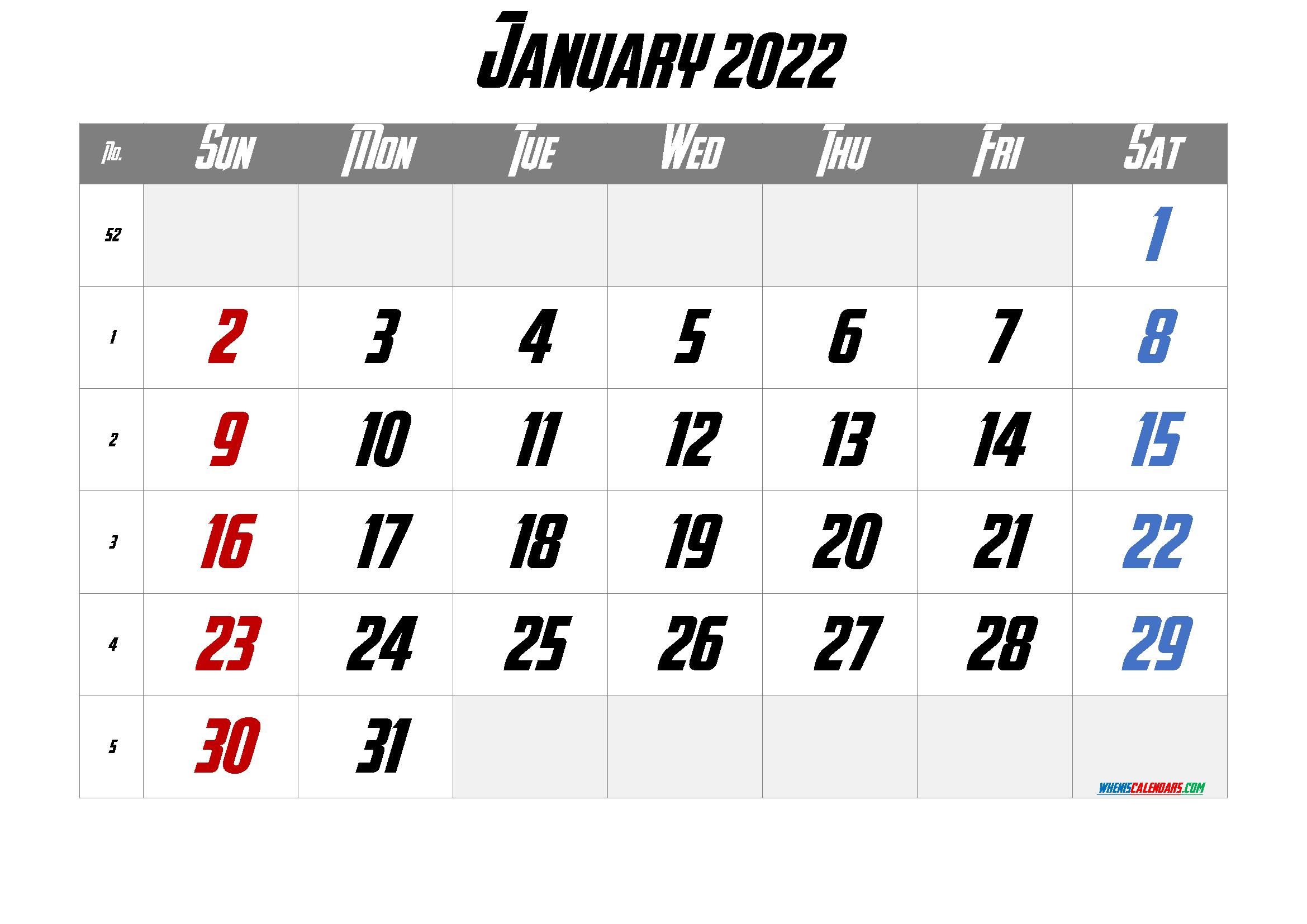 Printable January 2022 Calendar Free 12 Templates - Free ...
