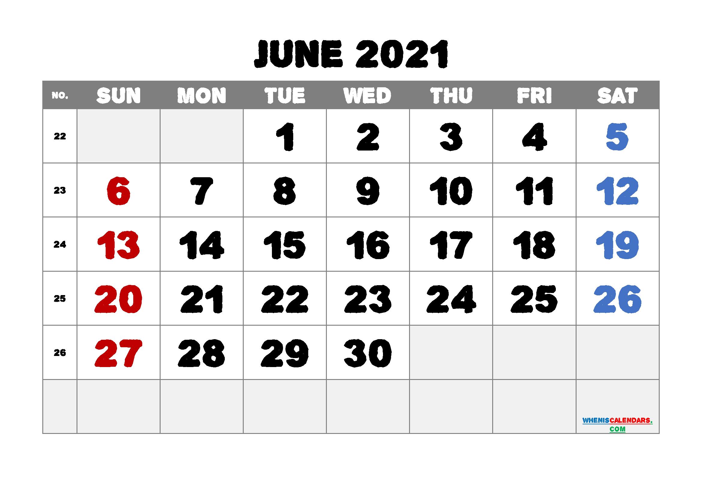 Printable June 2021 Calendar PDF | Template M21AlphaEcho2