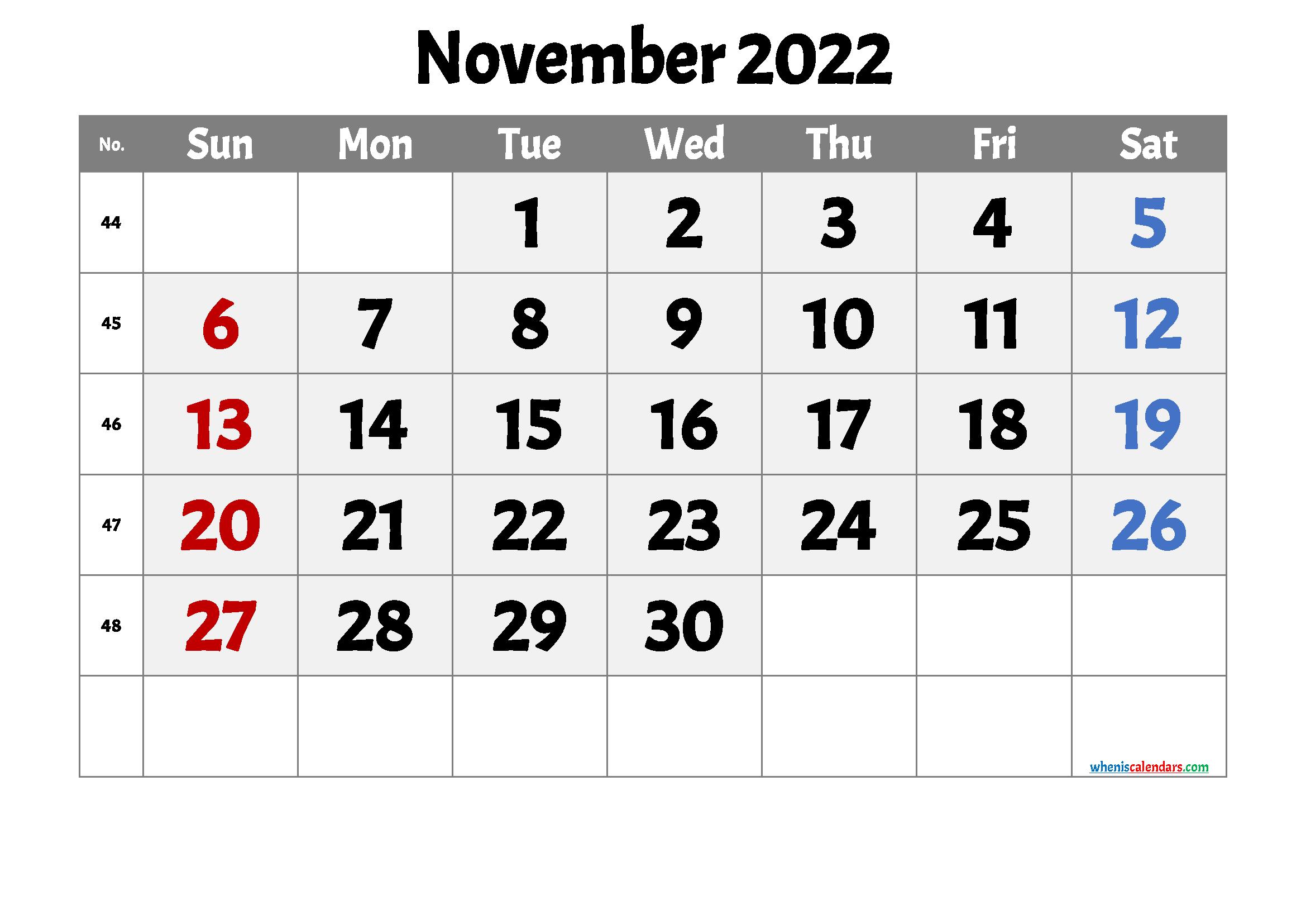 Free Printable November 2022 Calendar 12 Templates - Free ...
