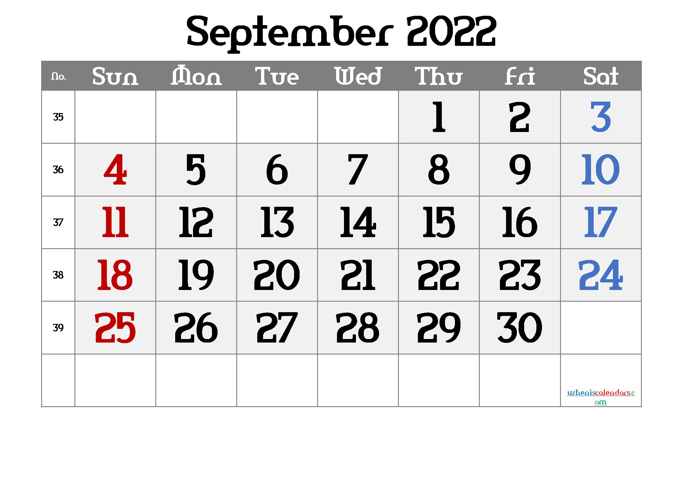 Free Printable September 2022 Calendar 12 Templates - Free ...