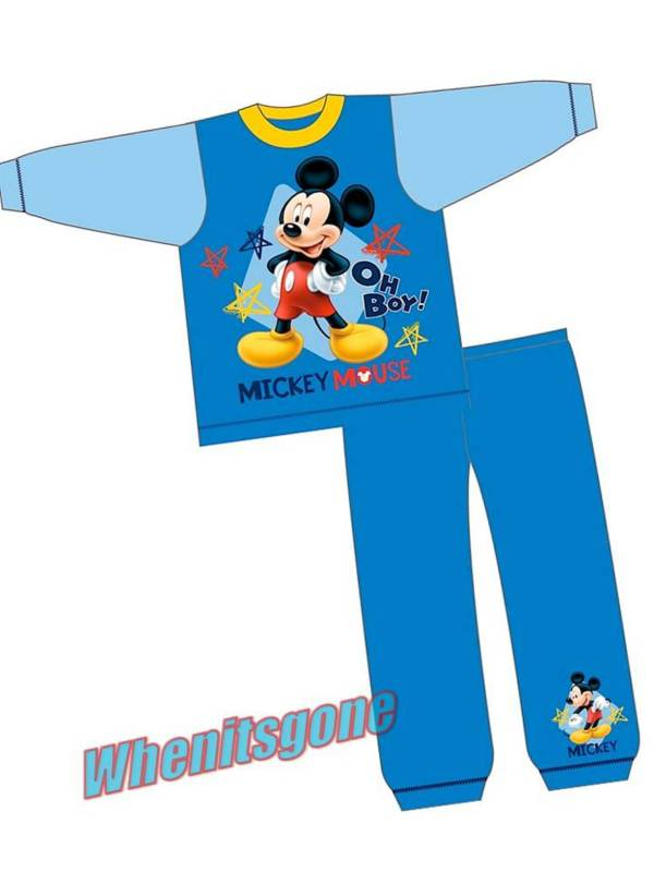 Disney Mickey Mouse Briefs Vest Underwear Pyjama Set 100 Cotton Fleece Onesie