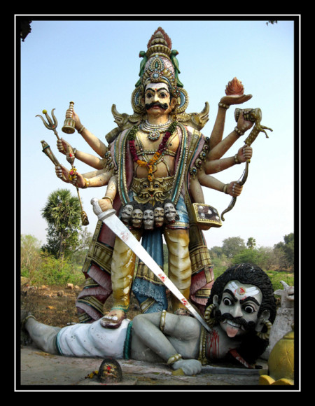 Virabhadra slaying Daksha