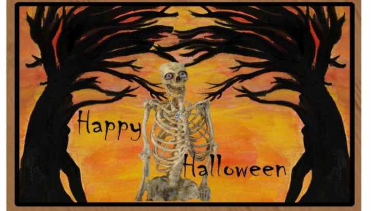Happy Halloween Skeleton Mat
