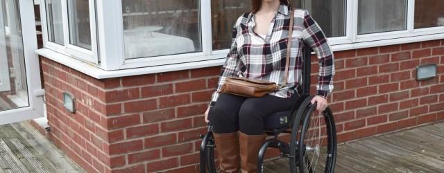Black And Burgundy Check Print Shirt, wheelchair fashion