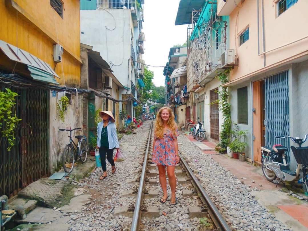 The railway tracks in Hanoi, Vietnam