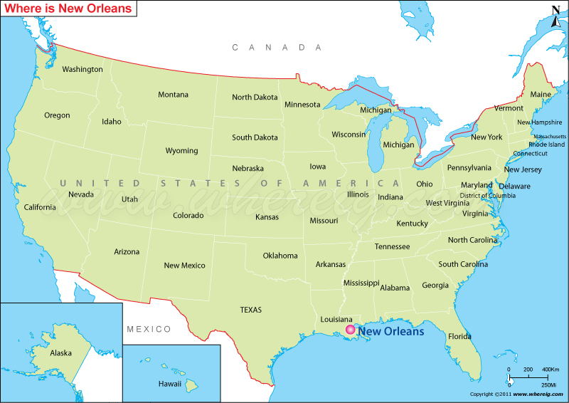 United states map new orleans. Where Is New Orleans La New Orleans In The Us Map