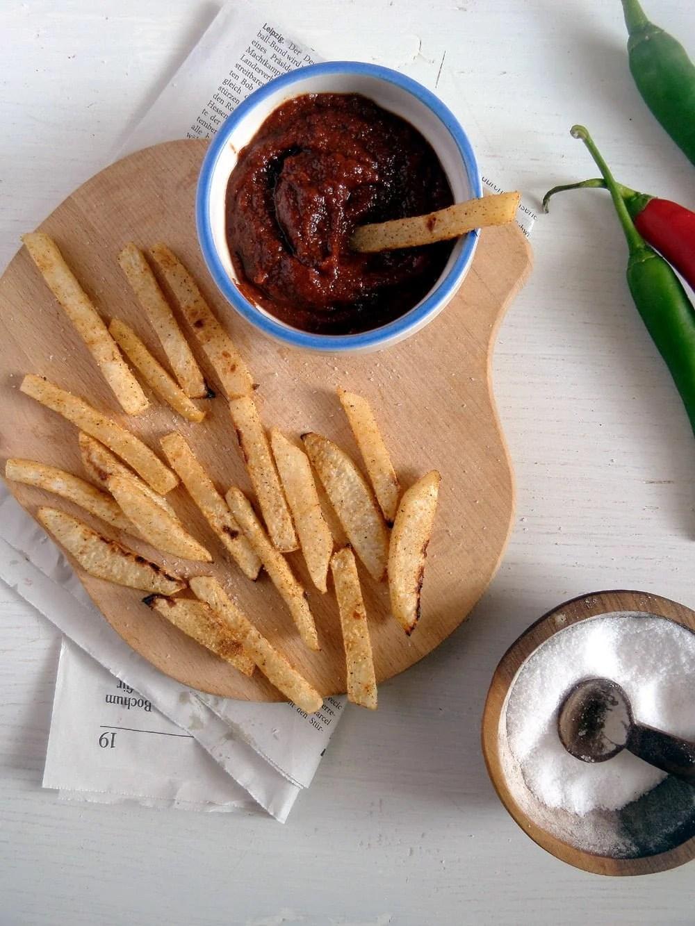 kohlrabi fries ketchup Kohlrabi Fries with Curry Ketchup