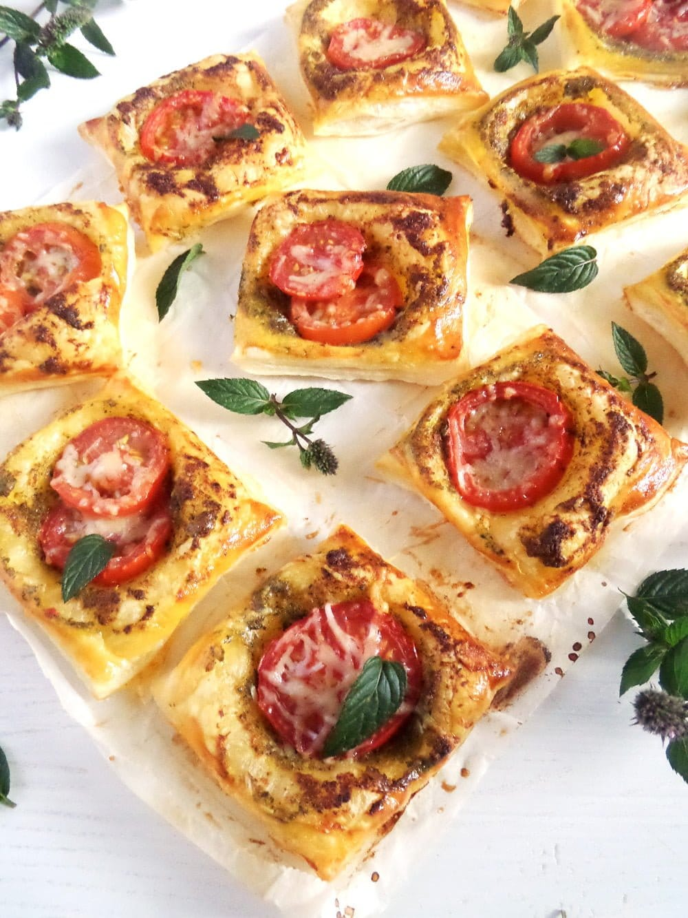puff pastry tomato bites Puff Pastry And Mint Pesto Nibbles