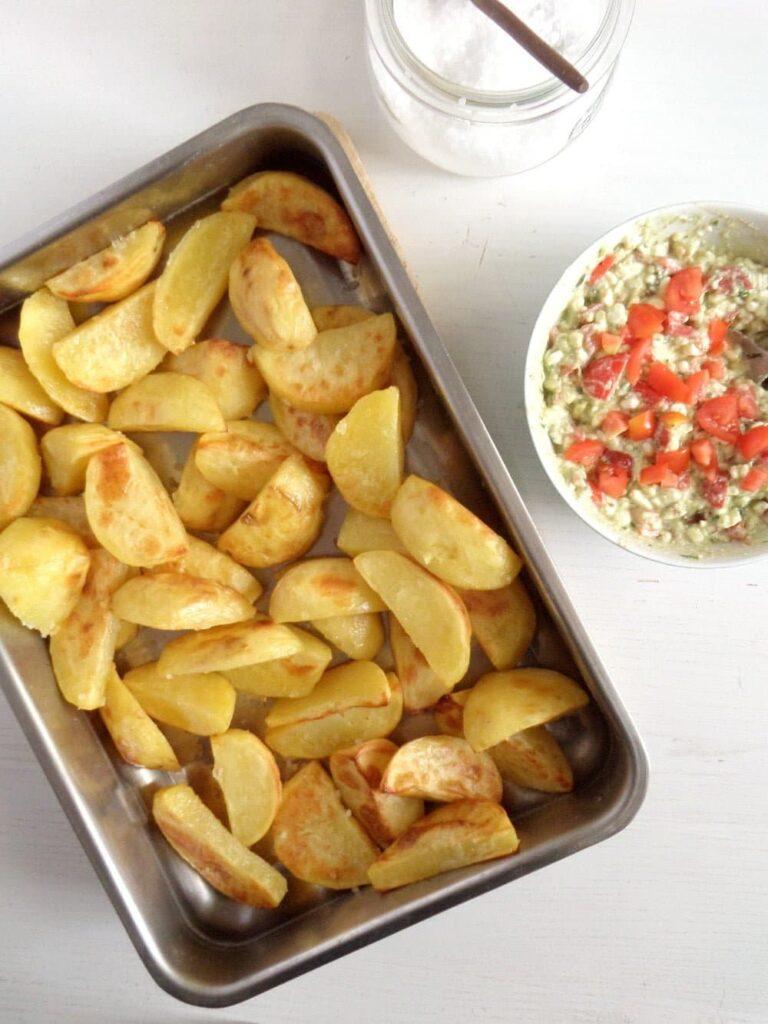 golden roast potatoes 768x1024 Golden Roasted Potatoes with Avocado Dip