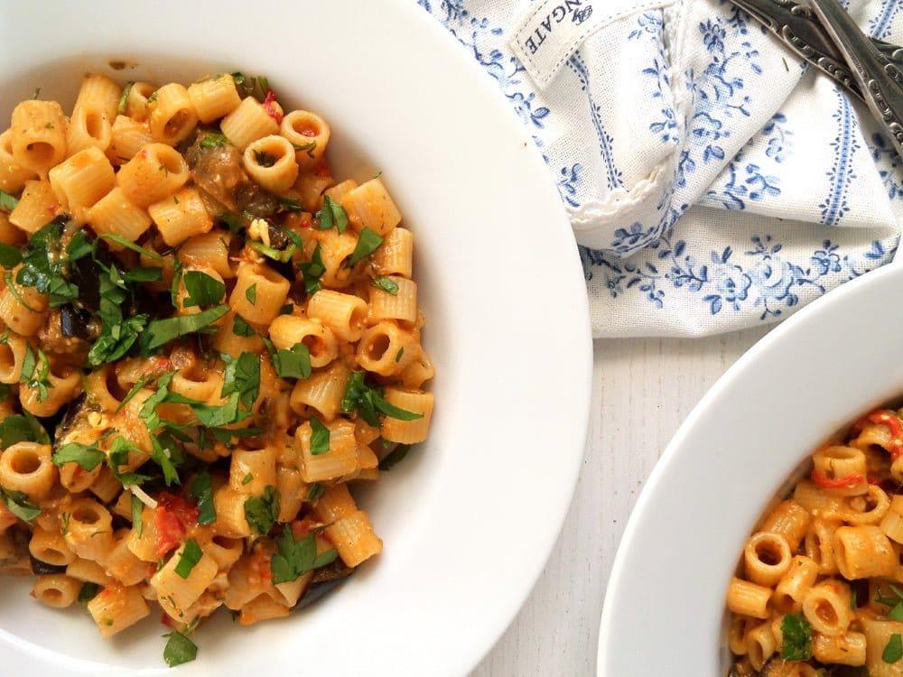 pasta veggies eggplant Pasta with Eggplant Tomato Sauce