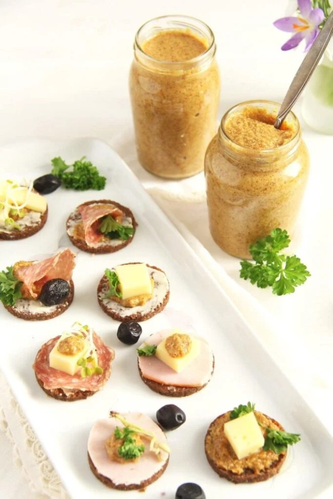 mustard homemade canapes 683x1024 Homemade Orange Mustard