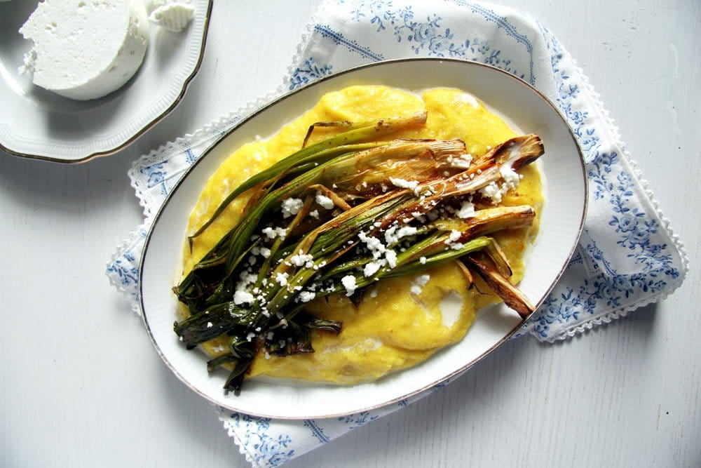 spring onions polenta Roasted Green Onions on Creamy Polenta