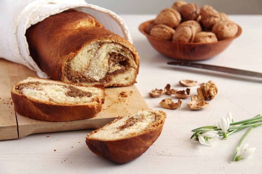 sweet bread romanian Caramelized Walnut Cake with Honey Quark Filling