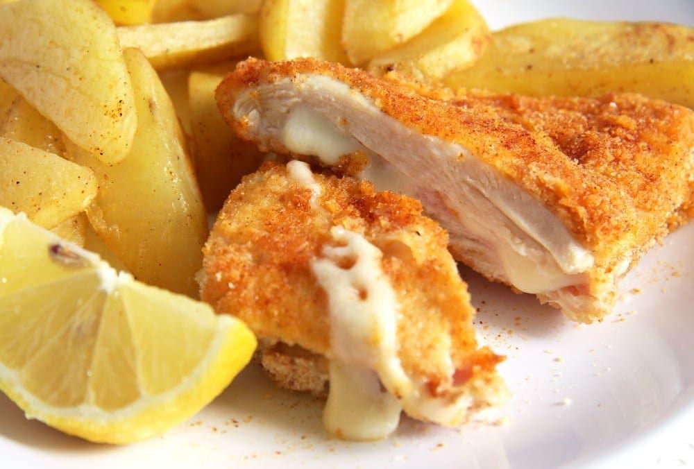 chicken schnitzel filled Chicken Schnitzel with Ham and Cheese