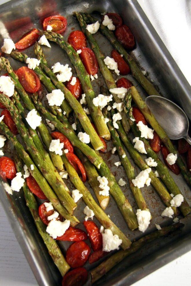 asparagus roast feta 683x1024 Basic Roasted Green Asparagus with Tomatoes and Feta