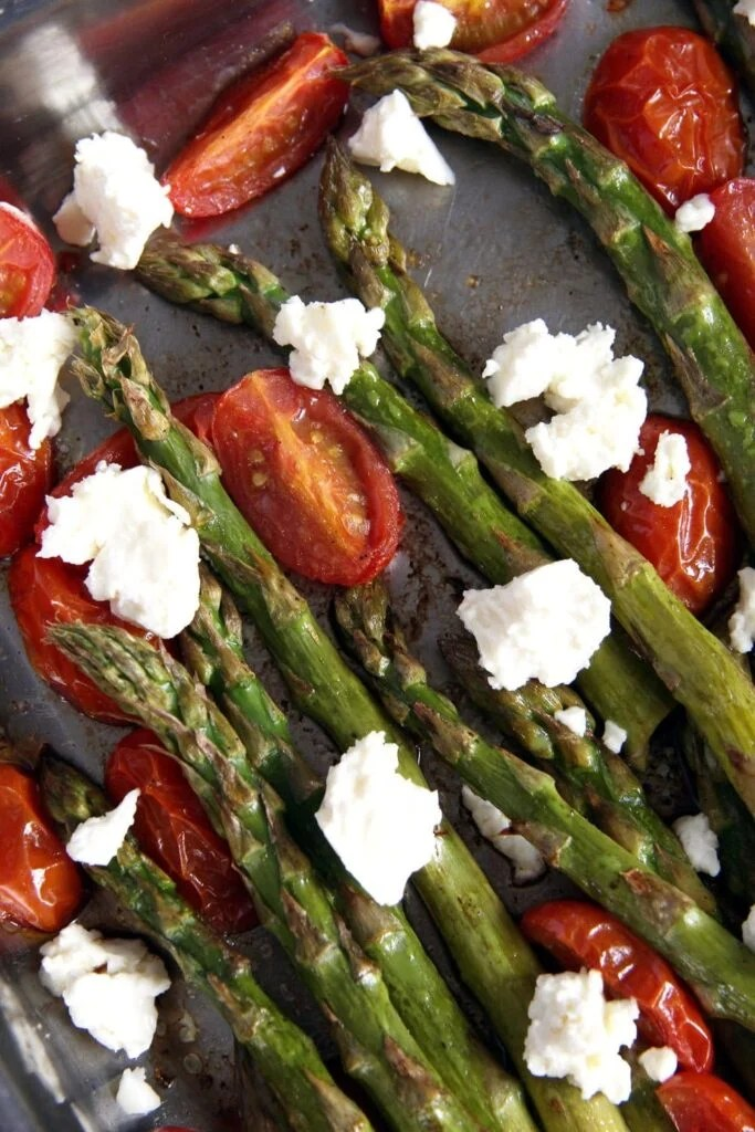 asparagus roasted feta 683x1024 Roasted Asparagus and Tomatoes with Feta
