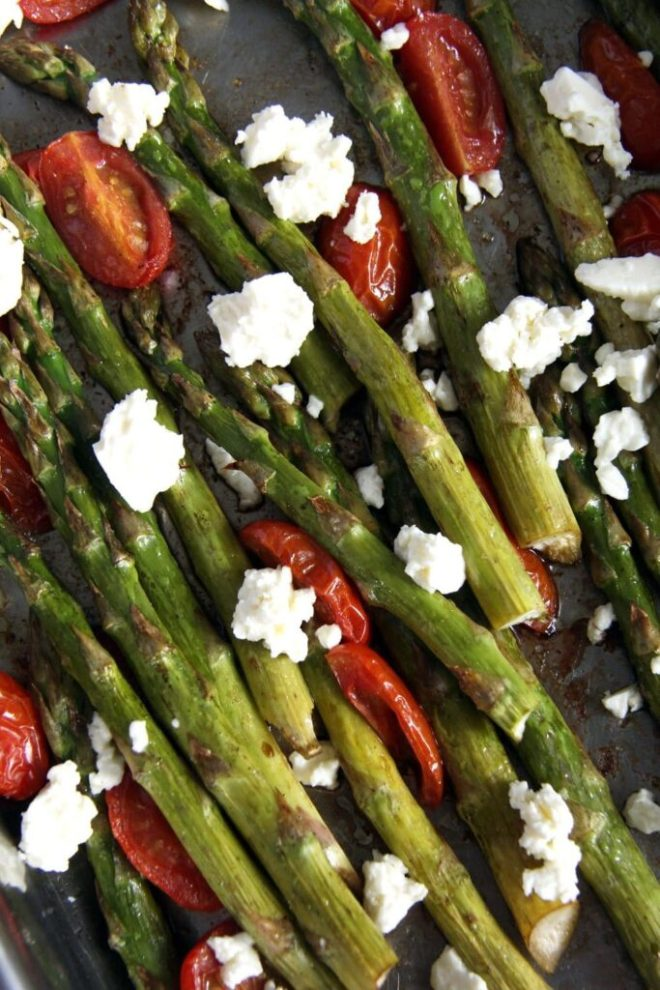 asparagus roasted tomato fe 683x1024 Basic Roasted Green Asparagus with Tomatoes and Feta
