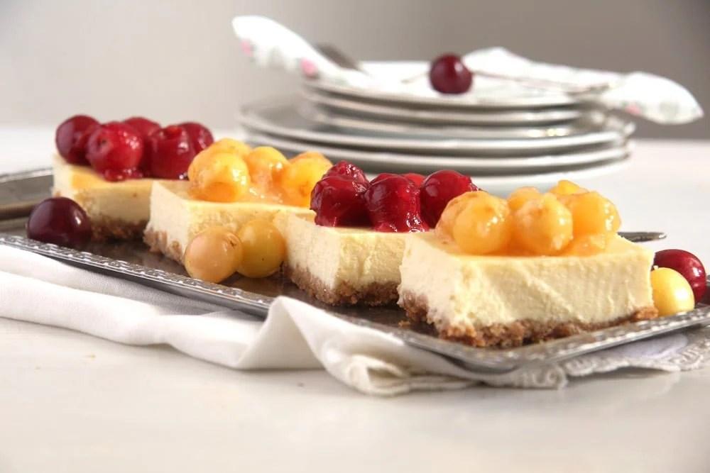 cherry cheesecake Creamy Cheesecake with Fresh Cherry Pie Filling