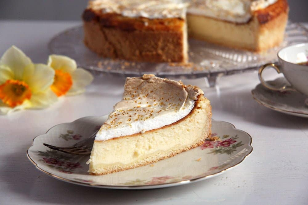 german cheesecake German Cheesecake with Low Fat Quark and Meringue Topping