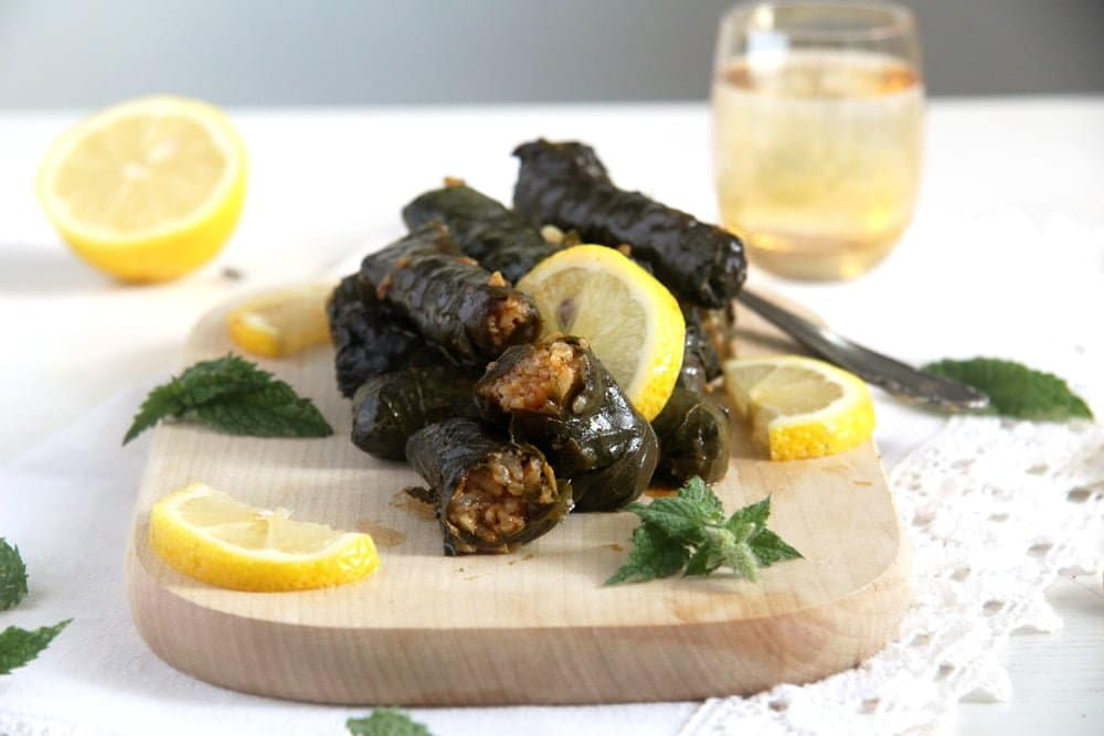 grape leaves rice Syrian Stuffed Vine Leaves with Rice, Garlic and Herbs