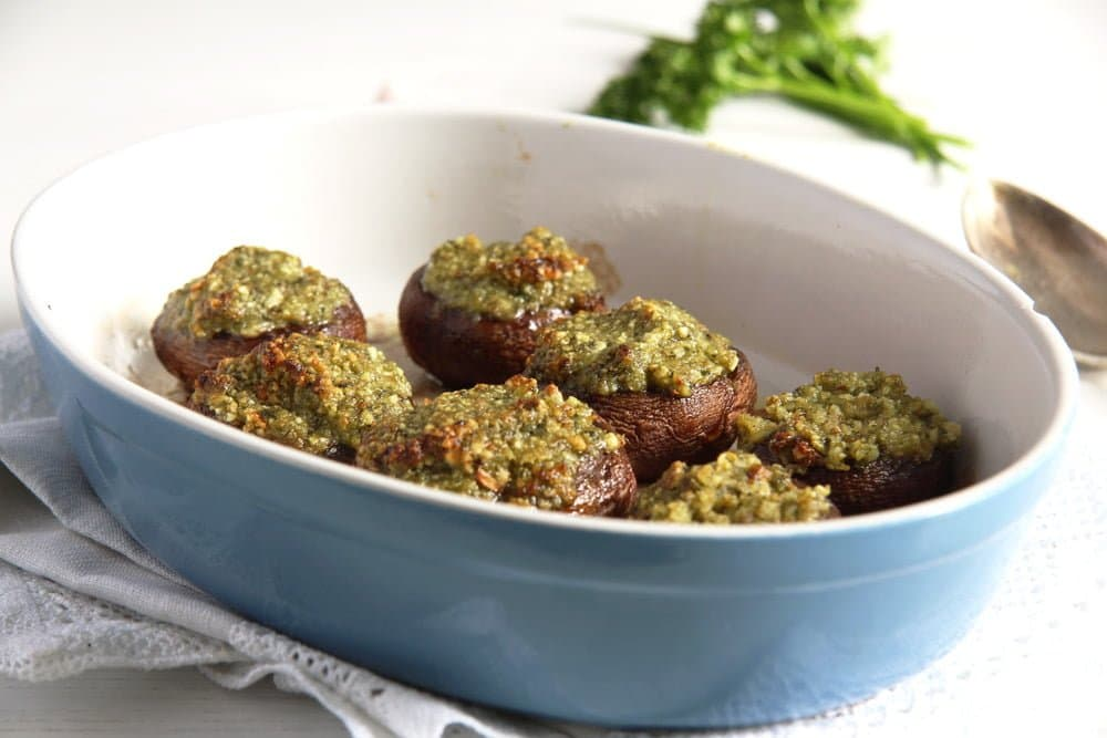 stuffed mushrooms Mushrooms with Herb Butter and Almond Filling