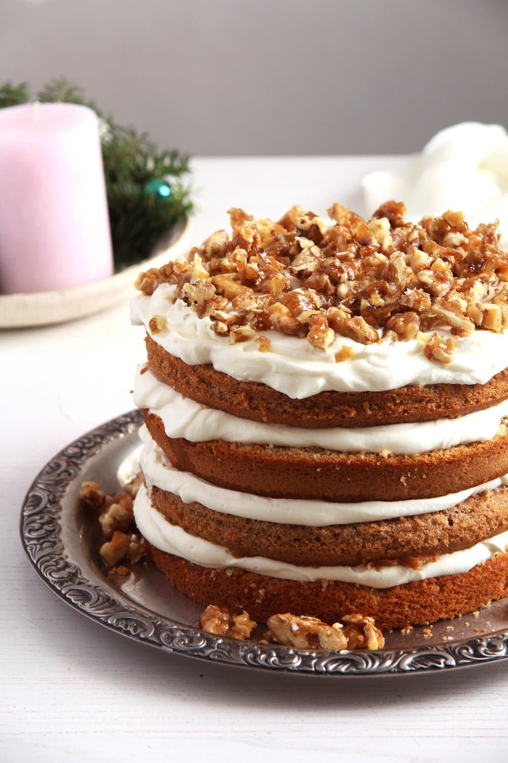 walnuts cake Caramelized Walnut Cake with Honey Quark Filling