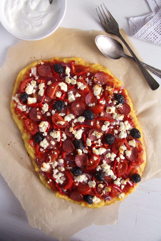 polenta pizza feta Polenta Pizza