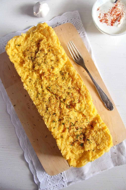 polenta souffle garlic sauc Romanian Polenta Souffle