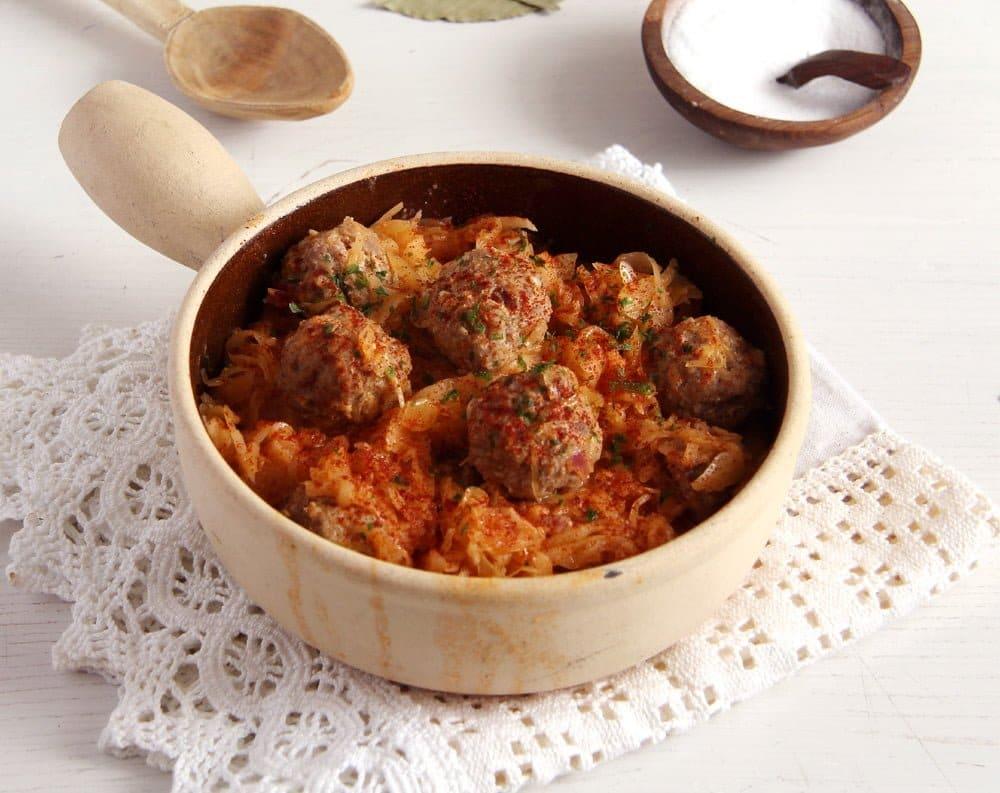 sauerkraut meatballs rice Sauerkraut with Meat Dumplings