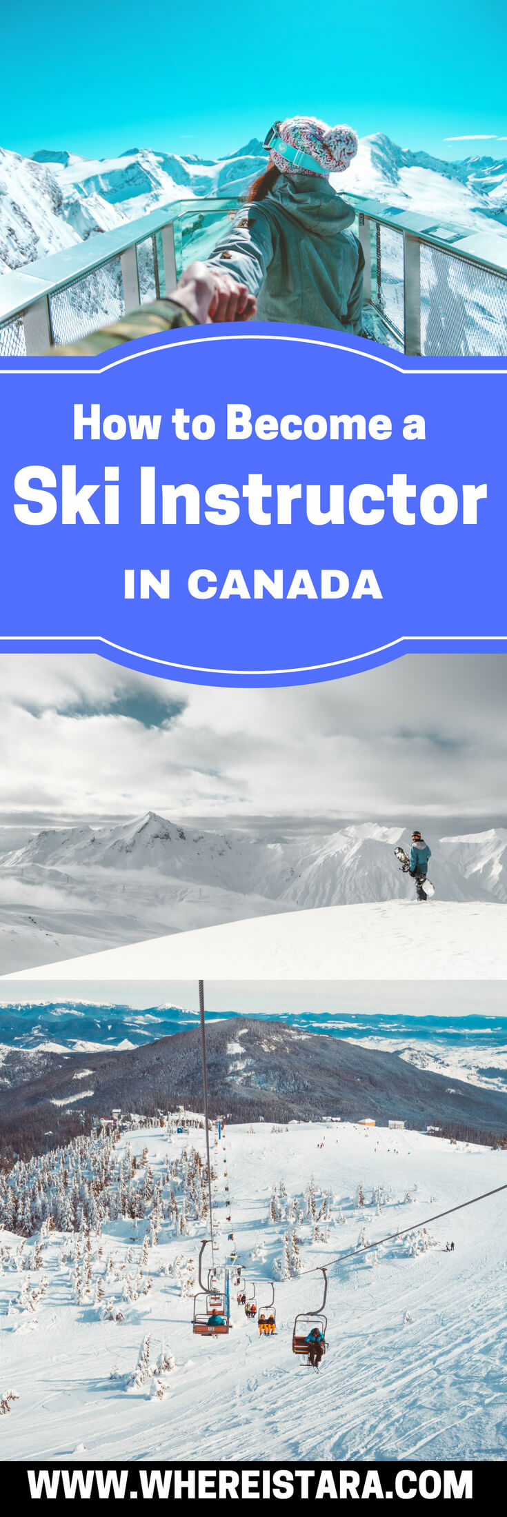 How to become a ski instructor courses in Canada ski internships pin