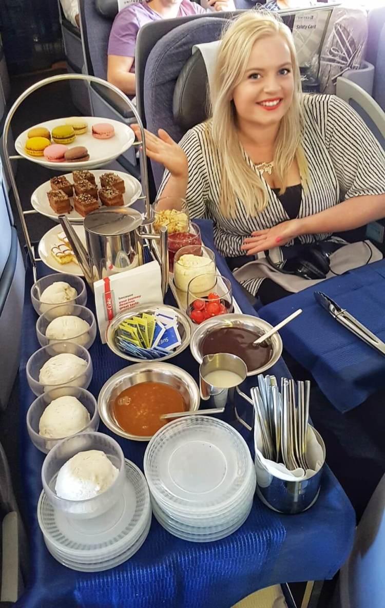 united polaris business class Dublin to Chicago dessert trolley