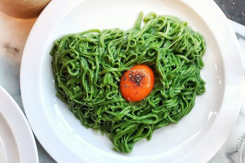 Yolk on bed of green pasta from Padella London | Where My heart Leads