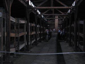 Rows of bunks in Birkenau
