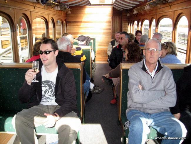 West Coast Wilderness Railway posh seats with wine